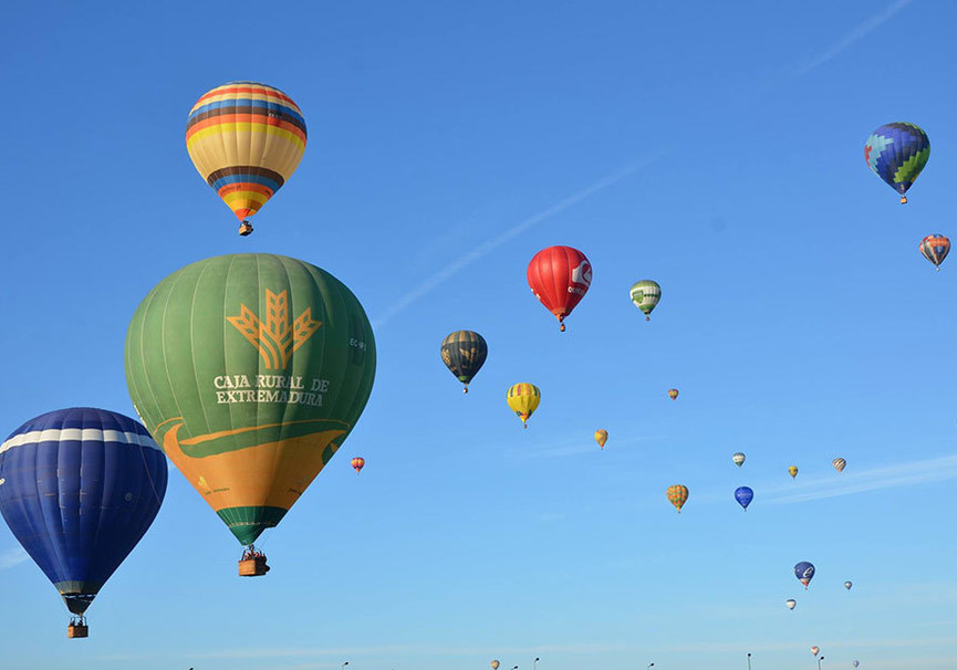 ride the sky in a balloon at dawn extremadura from above