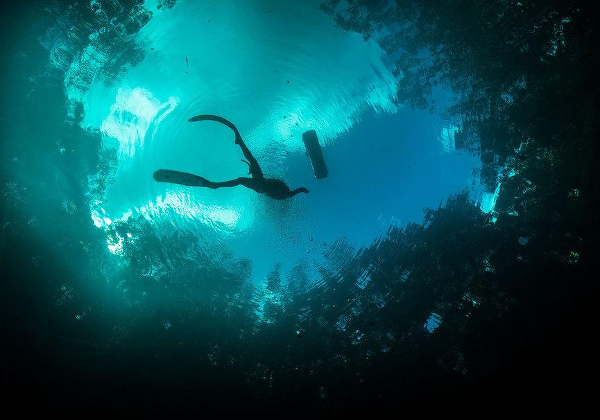 Medium advanced freediver bottom middle